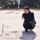 Korean woman on the beach in film